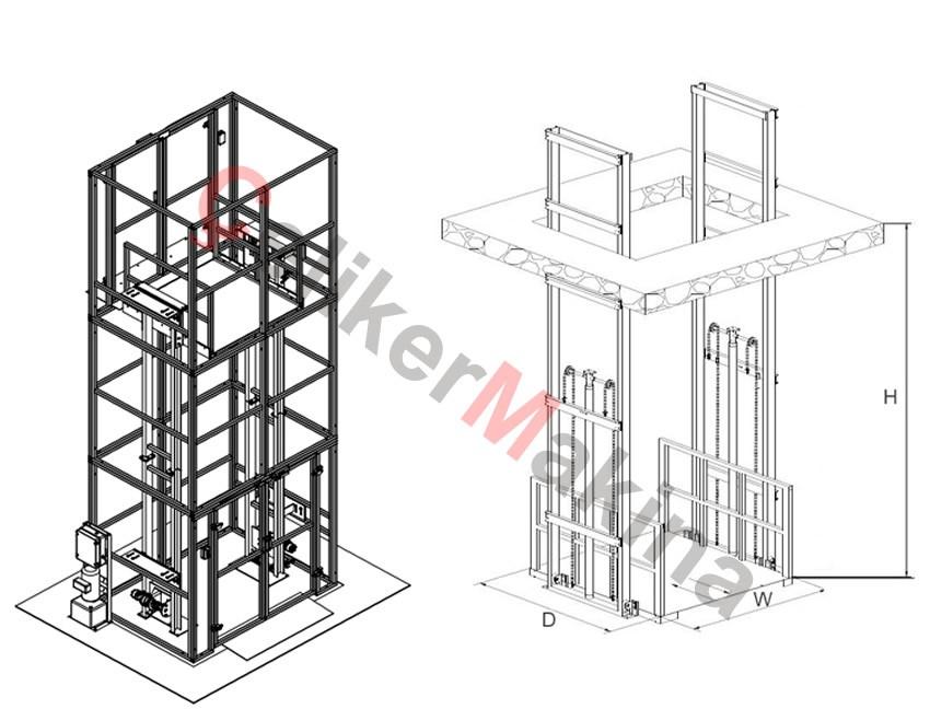 Hidrolik Yük Lifti Çift Piston 1 Ton