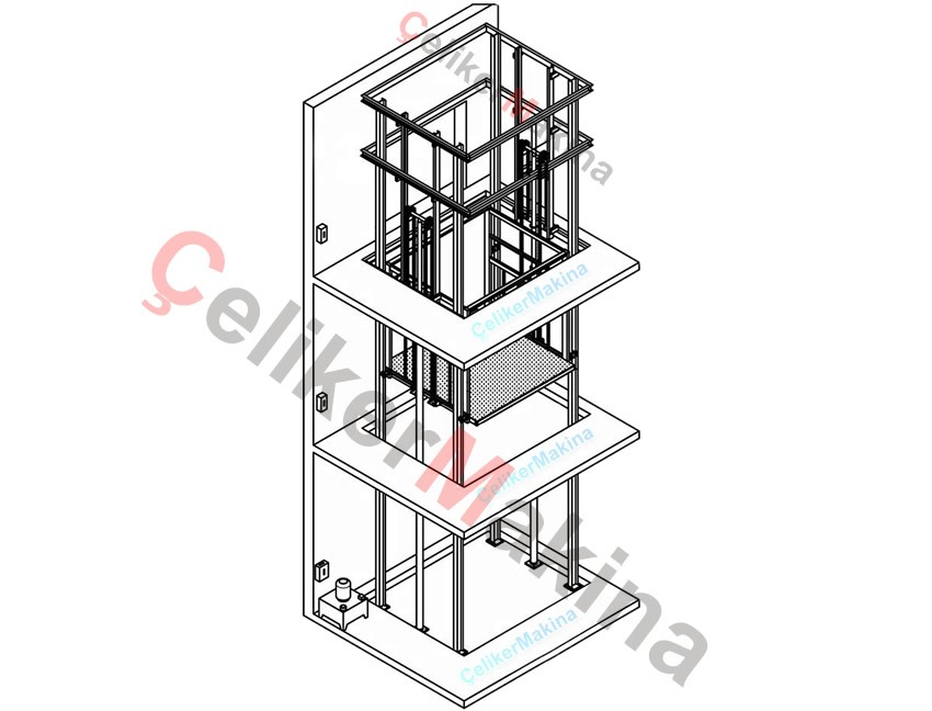 Hidrolik Yük Asansörü Çift Piston 1 Ton
