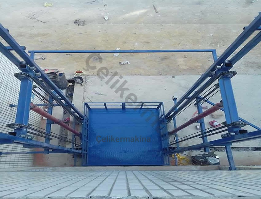 Hidrolik Yük Asansörü Çift Piston 4 Ton