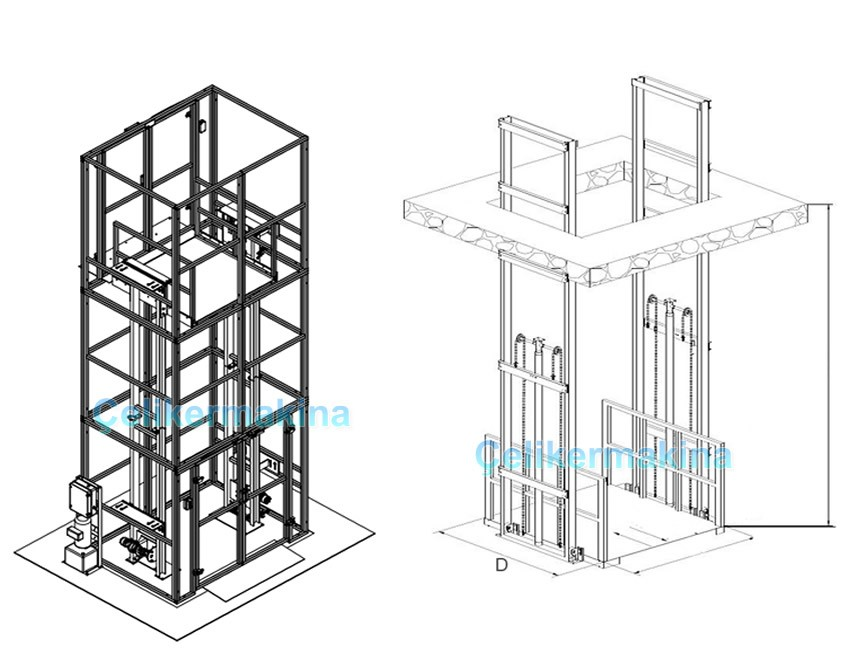 Hidrolik Asansör Çift Pistonlu 4 Ton