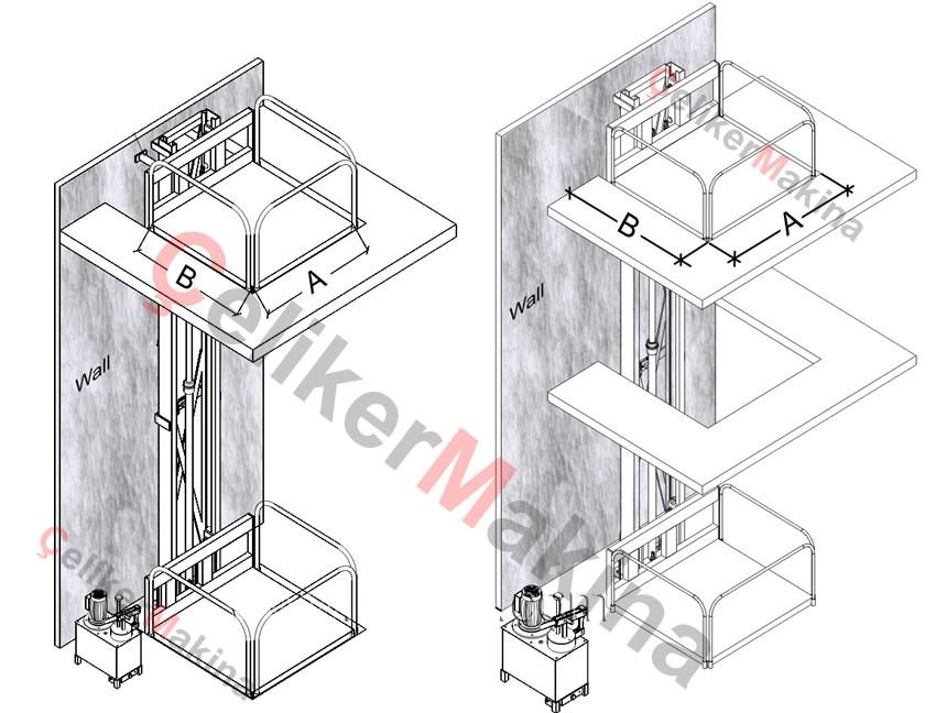 Hidrolik Asansör Tek Piston 2 Ton