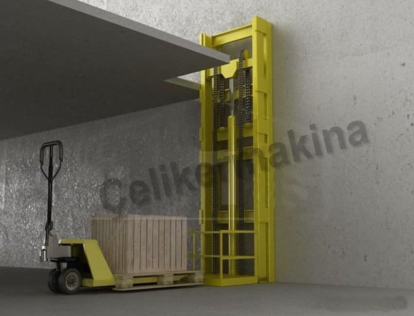 Tek Piston Hidrolik Yük Asansörü 750 kg