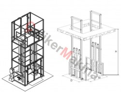 Hidrolik Yük Lifti Çift Piston 4 Ton