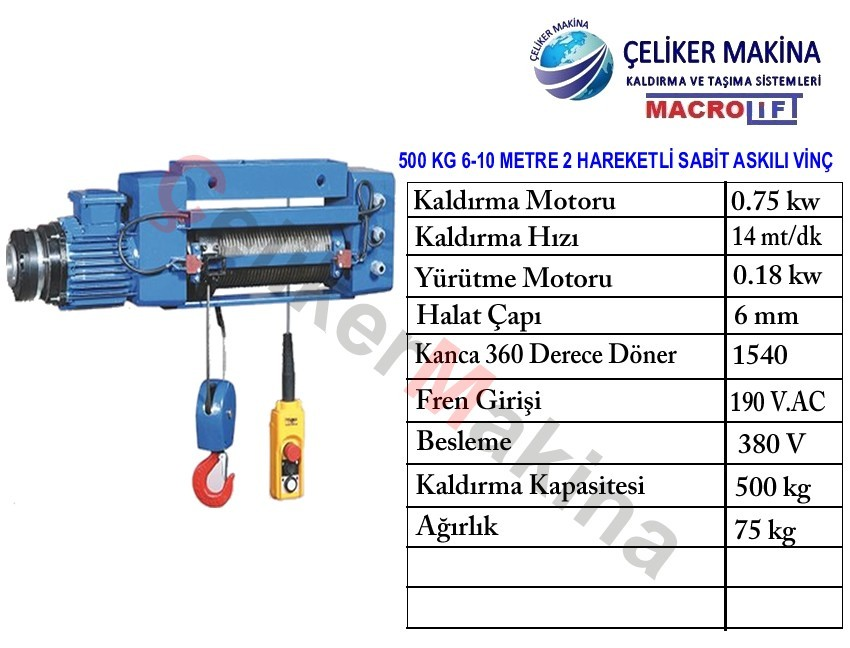 Elektrikli Caraskal 500 kg 8 m
