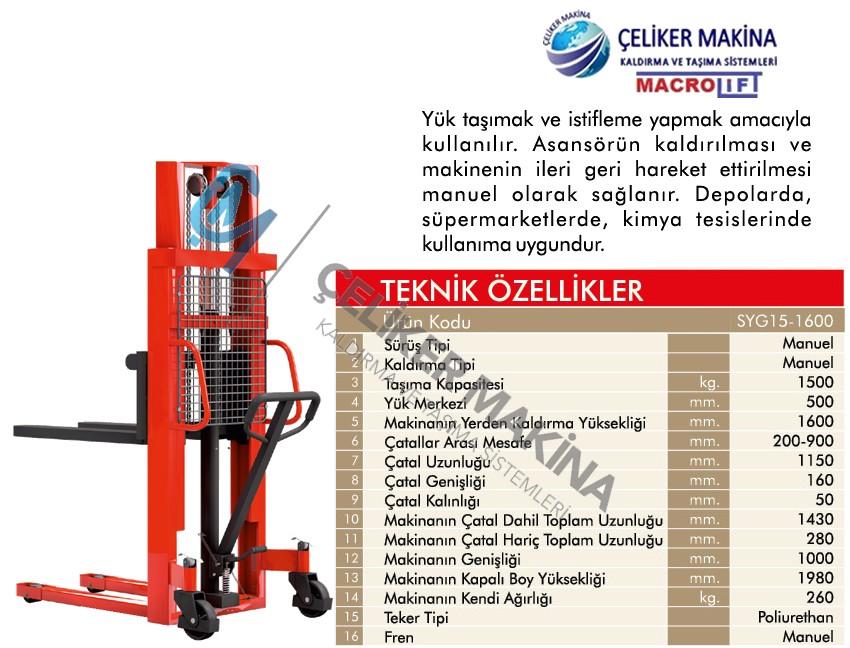 1,5 Ton 1,6 mt Manuel İstif Makinesi