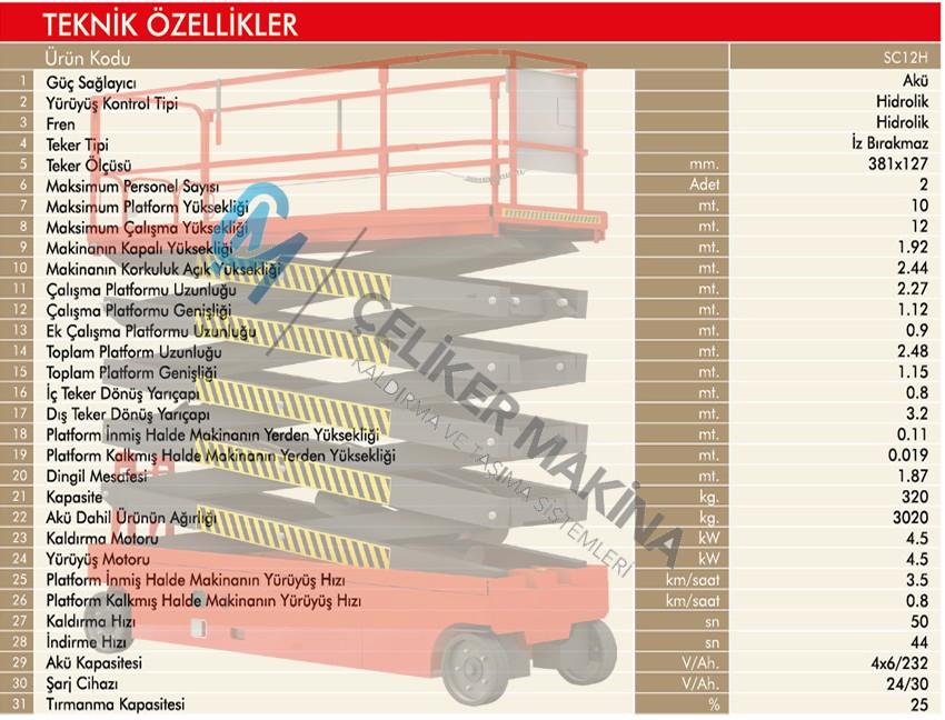 320 kg Full Akülü Personel Yükseltici