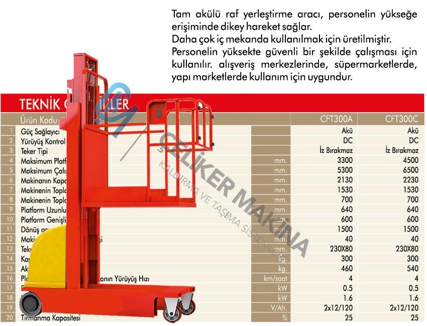 300 kg 5.3 mt Akülü Personel Yükseltici