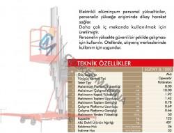 125 kg 8 mt Elektrikli Personel Yükseltici