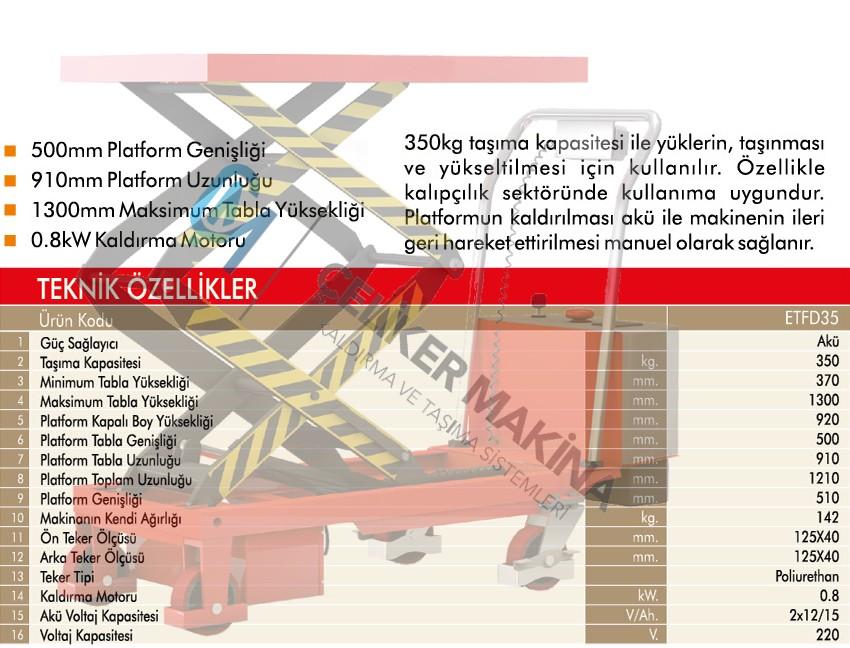 350 kg Akülü Makaslı Platform
