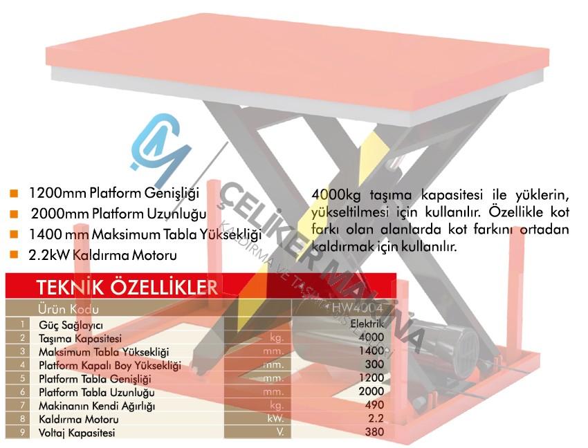 4 Ton Elektrikli Makaslı Platform