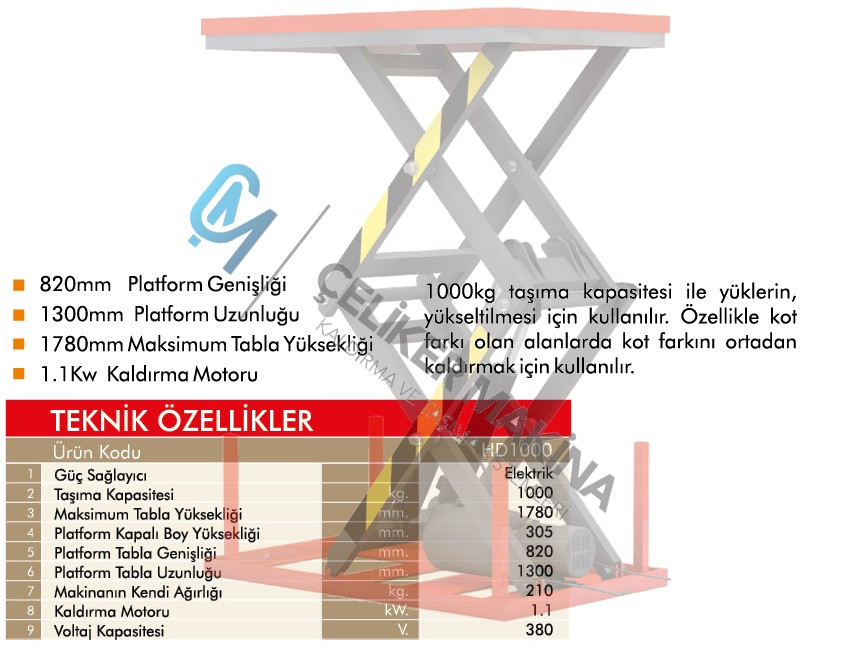 1 Ton Çift Makaslı Elektrikli Platform