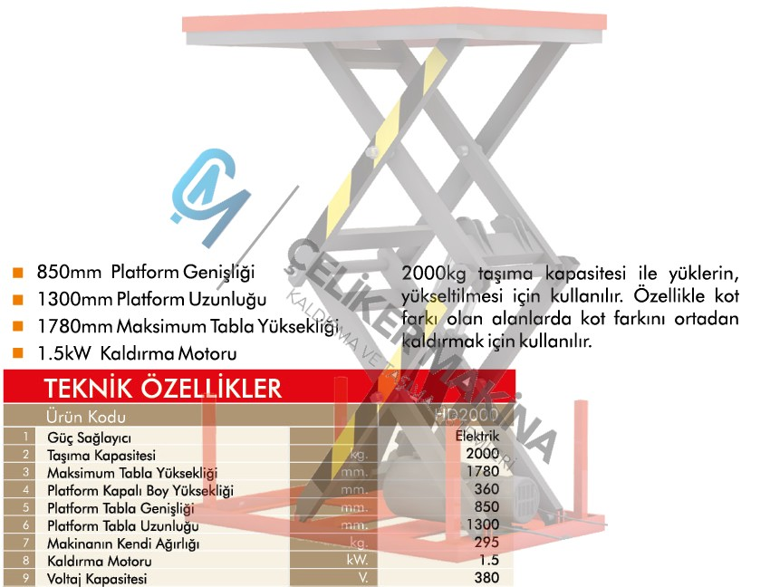 2 Ton Çift Makaslı Elektrikli Platform