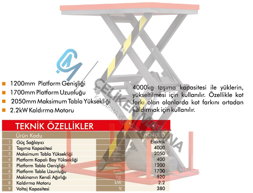 4 Ton Çift Makaslı Elektrikli Platform
