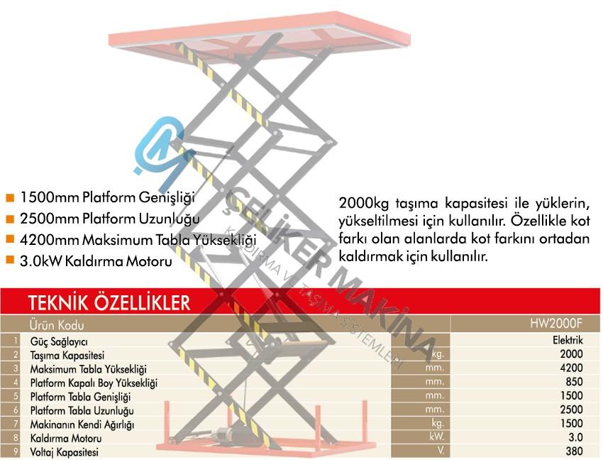 2 Ton 4.2 mt Elektrikli Makaslı Platform