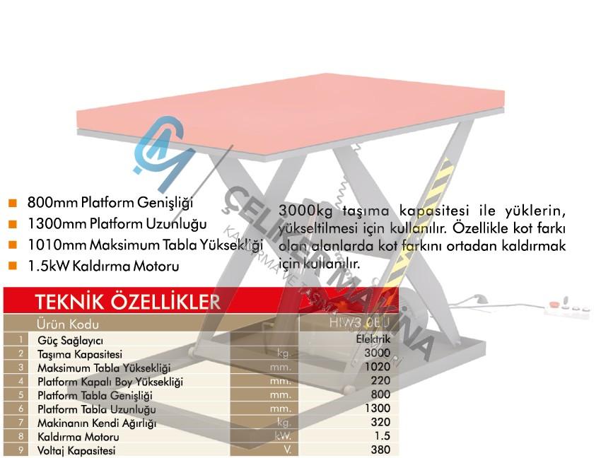 3 Ton Elektrikli Makaslı Platform