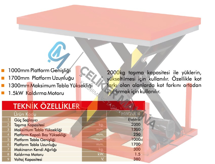 2 Ton Makaslı Elektrikli Platform