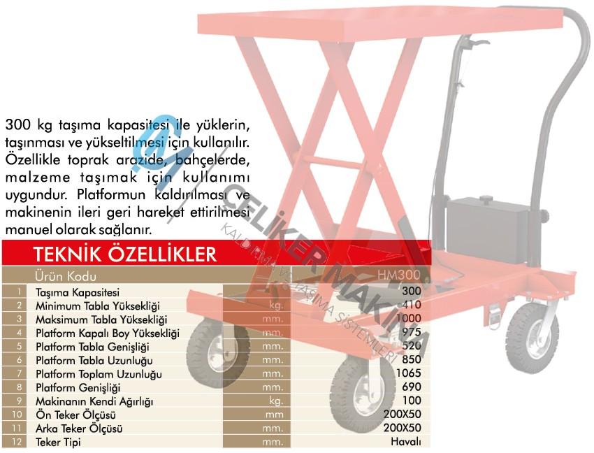 300 kg Arazi Tipi Manuel yük Platform