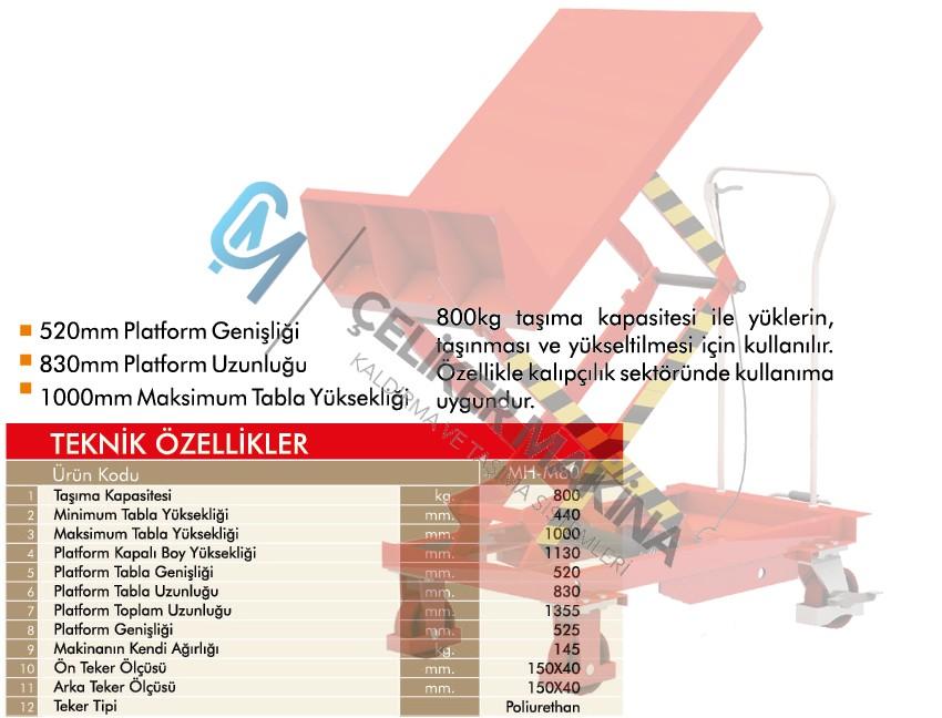 800 kg Manuel Makaslı Platform