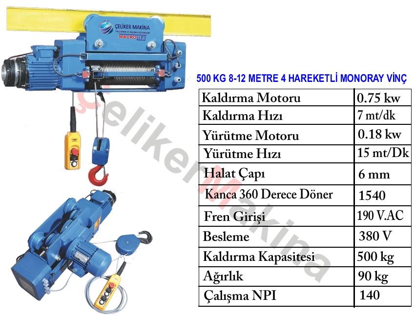 500 kg Monoray Halatlı Vinç