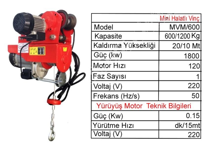 Mini Monoray Halatlı Vinç 600/1200 kg