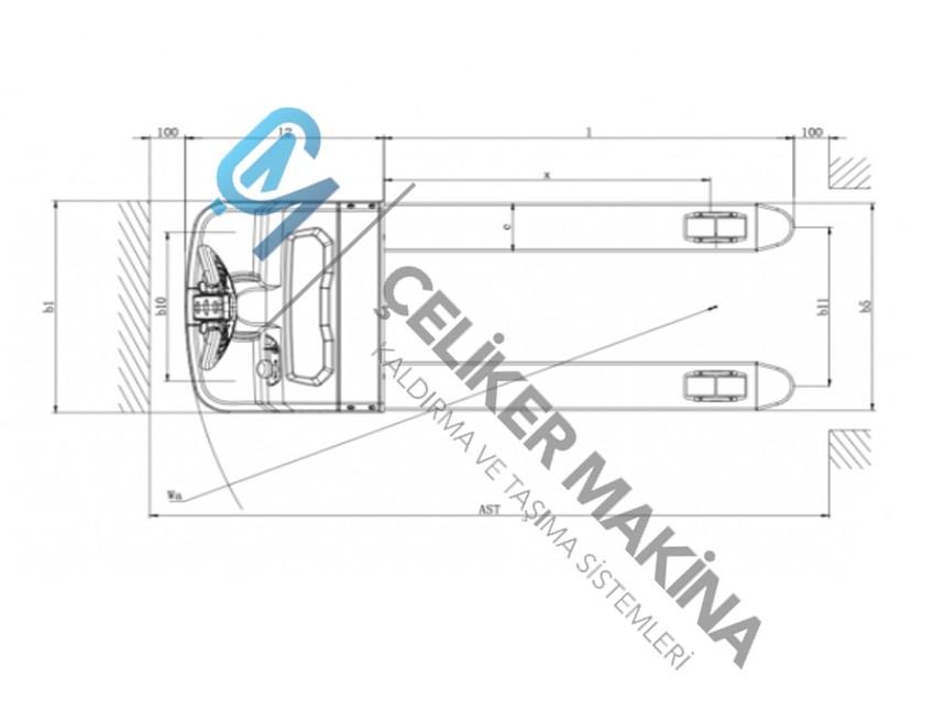 Akülü Transpalet 2 ton
