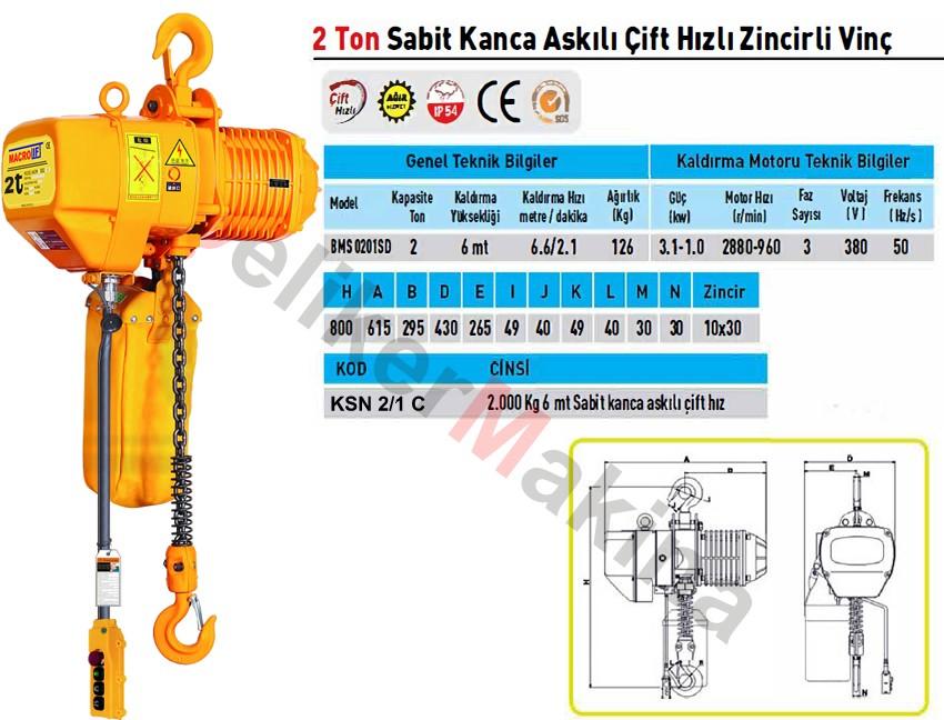Elektrikli Caraskal Çift Hız 2 Ton