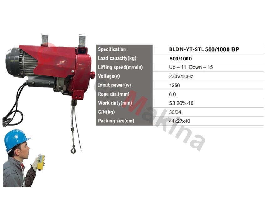 Halatlı Asansör Vinci 500 kg