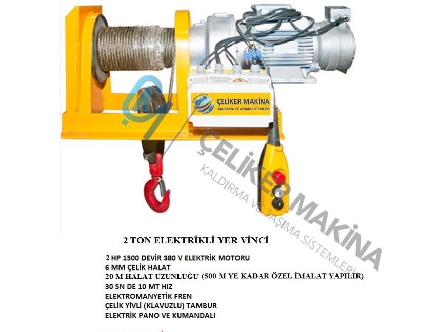 2 Ton 30 mt Elektrikli Yer Vinci