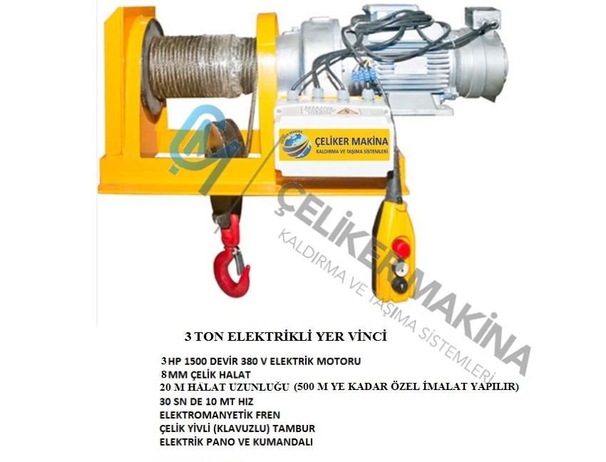 3 Ton 20 mt Elektrikli Yer Vinci