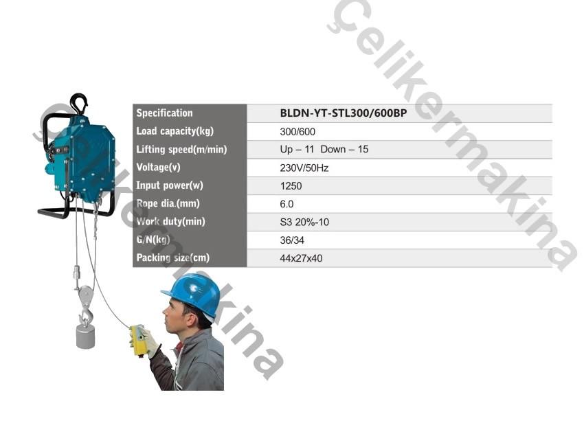 Halatlı Asansör Vinci 300 kg